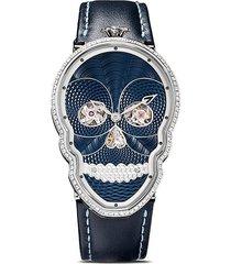 fiona kruger petit skull diamond watch - blue / black