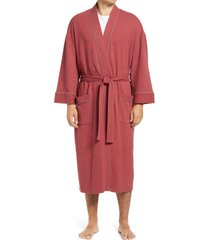 men's majestic international waffle knit robe, size medium/large - red