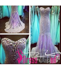 unique mermaid sweetheart lilac diamond crystals long evening dress,prom dresses
