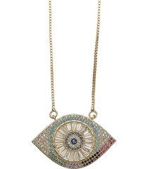 eye candy la women's luxe 14k goldplated sterling silver & crystal evil eye pendant necklace