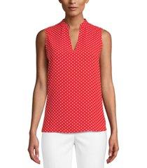 anne klein dot-print split-neck blouse