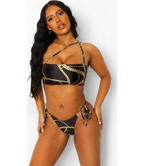 kettingprint bikinibroekje met zijstrikjes, black