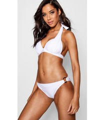 moulded push up plunge enhance triangle bikini, white