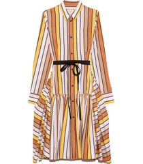 belted stripe flounce dress in maize