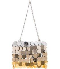 paco rabanne scale sequin shoulder bag - silver