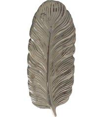 bandeja cerâmica folha prata