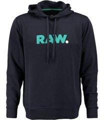 g-star donkerblauwe oversized sweater hoodie valt ruim