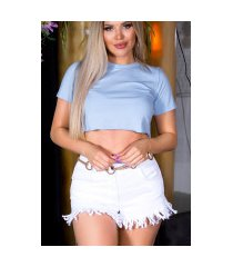 sexy basic cropped t-shirt blauw