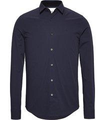 camisa azul calvin klein classic cotton stretch slim fit shirt