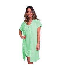 camisola com robe bella fiore modas malha lisa cíntia verde água