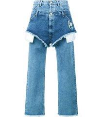 natasha zinko boyfriend fitted jeans with layered shorts - blue