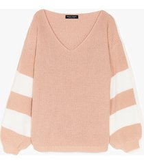 womens that's my stripe balloon sleeve knit cardigan - nude