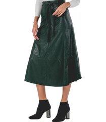 falda ecocuero verde guinda