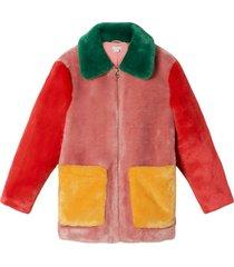 fake fur coat colorblock