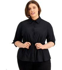 alfani plus size tie-waist top, created for macy's