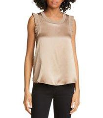 women's cinq a sept lenore silk blouse, size x-large - metallic