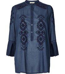 blouse met geborduurde details porto  blauw