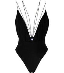 alchemy strappy plunge-neck bodysuit - black