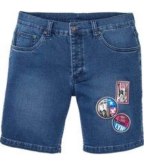 shorts in felpa lunghi effetto jeans con applicazioni slim fit (blu) - rainbow