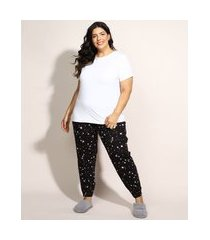 pijama feminino plus size com estampa de estrelas manga curta preto