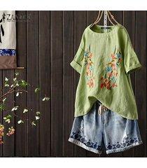 zanzea para mujer floral de manga corta impresa floja ocasional tops camisas túnica de la blusa -verde