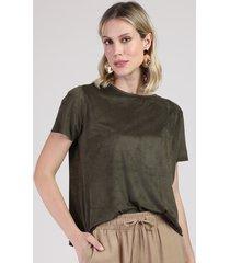 blusa feminina ampla em suede manga curta decote redondo verde militar