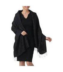 rayon and silk blend shawl, 'mandarin jet' (thailand)