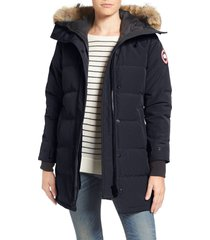 women's canada goose shelburne fusion fit genuine coyote fur trim down parka, size x-small - blue