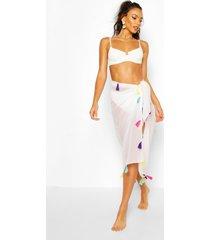 strand sarong met kwastjes, white