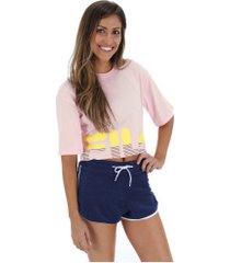 blusa cropeed fila letter - feminina - rosa claro