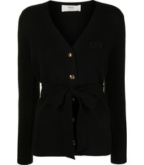 bally embroidered logo belted cardigan - black