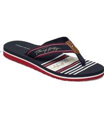 tommy signature beach sandal shoes summer shoes flat sandals blå tommy hilfiger