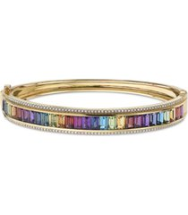 effy multi-gemstone (8-3/4 ct. t.w.) & diamond (1/2 ct. t.w.) bangle bracelet in 14k gold