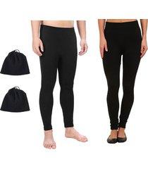 combo invierno legging termico mujer + legging termico hombre + 2 cuellitos/gorro en fleece - negro