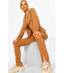 skinny broek met split, kameel