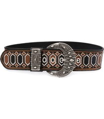 etro embroidered leather belt - black