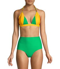 colorblock twist tie triangle bikini top
