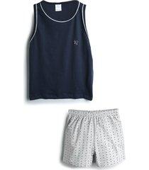 pijama pzama curto menino poás/bolinhas azul