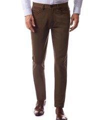 pantalón satin strech five pocket slim marrón new man