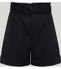 short de sarja feminino clochard cintura super alta com cinto preto