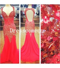 luxury mermaid straps heavy beads sequins evening prom dress,party /formal dress