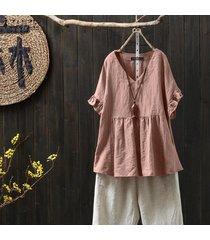 zanzea para mujer de algodón de cuello v tapas flojas de la blusa de las señoras camisetas ocasionales más el tamaño (no incluir los pantalones) -rosado