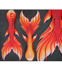 2017 hot swimmable mermaid tail with monofin red tail photo prop swimming suit