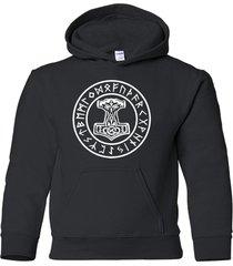 thors hammer moljinor hoodie sweatshirt asatru viking odin rune norse mythology
