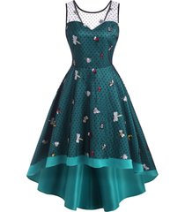 high low mesh sheer insect embroidered party dress