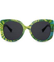 versace eyewear palm print oversized sunglasses - green