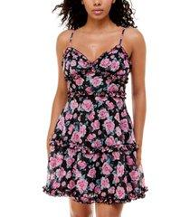 b darlin juniors' printed ruffled sleeveless dress