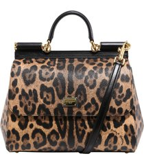 dolce & gabbana leopard-print leather tote