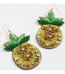 women's alexis beaded pineapple drop earrings in yellow by francesca's - size: one size