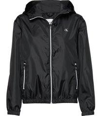 large ck logo hooded zomerjas dunne jas zwart calvin klein jeans